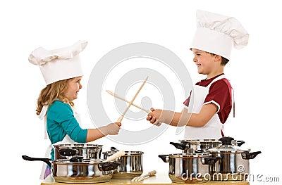 Chefs duel with wooden utensils