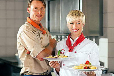 Chefs in a restaurant or hotel kitchen