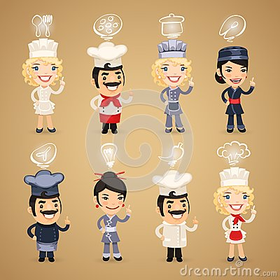 Free Chefs With Icons Set Royalty Free Stock Photos - 40727628
