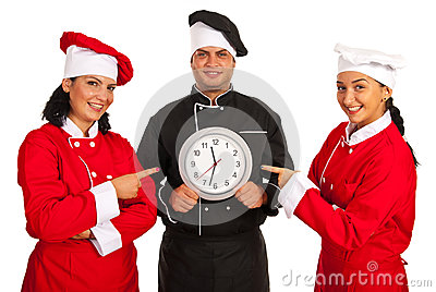 Chefs women pointing to clock