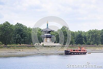 Chelsea peace pagoda river thames london uk