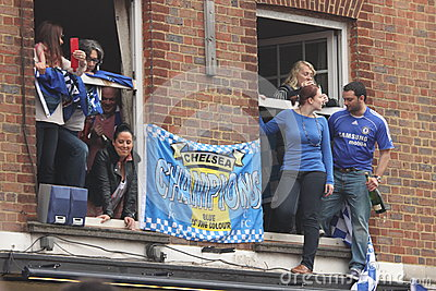 Chelsea victory parade spectators Editorial Stock Image