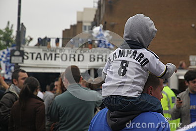 Chelsea victory parade spectators Editorial Stock Photo