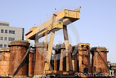 Chemical Factory with crane and oil tanks