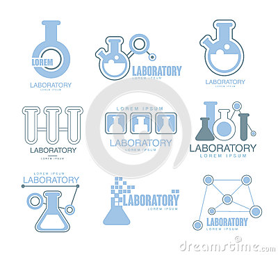 Chemical Laboratory Facility Logo Graphic Design Templates Set In Light Blue Color With Test Tubes Silhouettes Vector Illustration