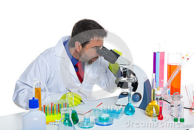 Chemical laboratory scientist man looking microscope