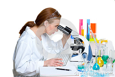 Chemical laboratory scientist woman looking microscope