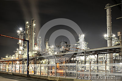 OMV oil refinery in night