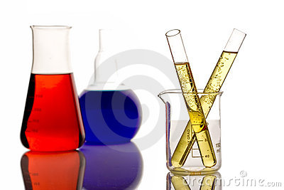 Chemicals in a research lab