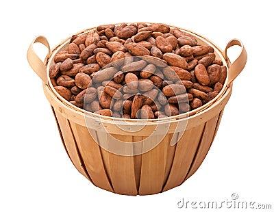 Chemin de cacao de découpage d haricot de panier