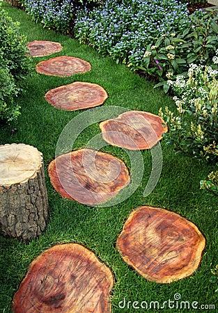 Chemin de jardin d'agrément effectué à partir de la pelouse en bois