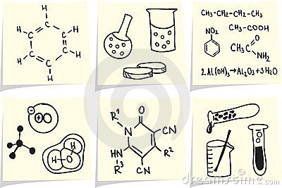 Chemistry and biology icons on yellow memo sticks