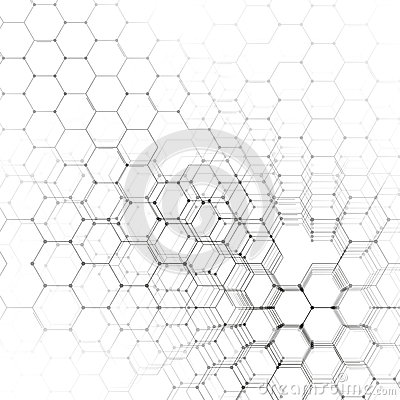 Chemistry 3D pattern, hexagonal molecule structure on white, scientific medical research. Medicine, science and Vector Illustration