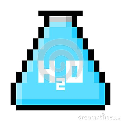Chemistry Flask Filled With Water in Big Pixels