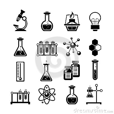 Free Chemistry Icons Set Black Stock Photography - 51600422