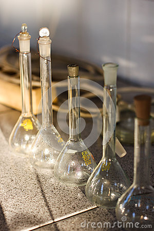 Chemistry laboratory glass containers test tubes