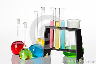 Chemistry set with test-tubes and beakers filled with multicolo