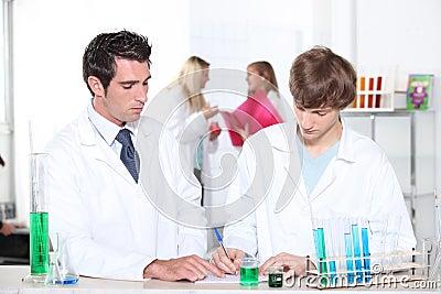 Chemistry teacher and student
