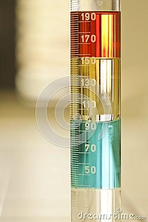 Chemistry tube liquid solutions