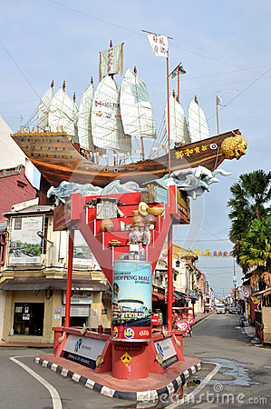 Free Cheng Ho S Ship In The Street Of Melaka Stock Images - 53052684