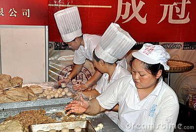 Chengdu, China: Chefs Making Moon Cakes Editorial Stock Photo