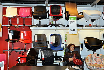 Chengdu, China: Office Chairs at IKEA Superstore Editorial Stock Image
