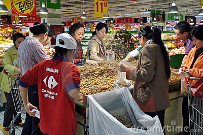 Chengdu, China: People in Carrefour Super Market Editorial Stock Image