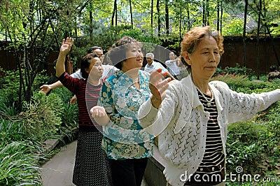 Chengdu, China: Senior Citizens Dancing Editorial Stock Image