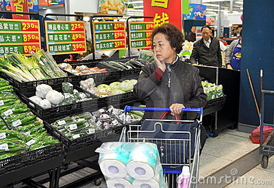 Chengdu, China: Shopping at Walmart Supermarket Editorial Photography