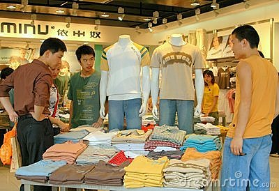Chengdu, China: Teens Shopping for Clothes Editorial Stock Photo