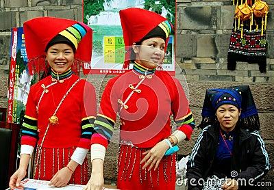 Chengdu, China: Three Yi People Women Editorial Photography