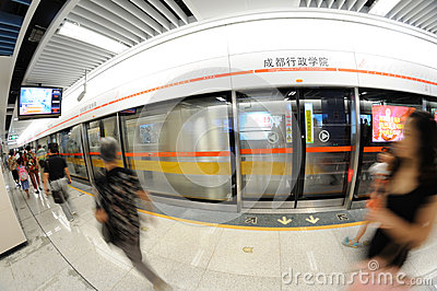 Chengdu metro line 2 Editorial Photo
