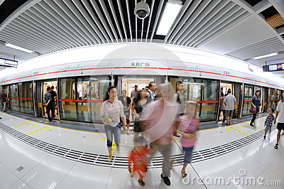 Chengdu metro line 2, Tianfu square station Editorial Stock Photo