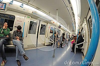 Chengdu subway  interior Editorial Stock Image