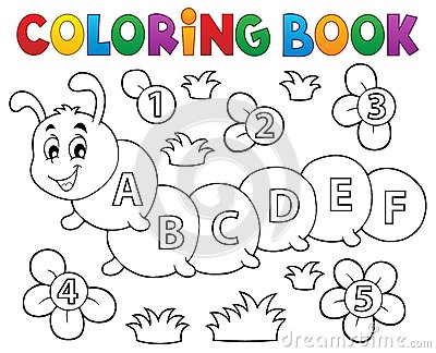 chenille de livre de coloriage avec des lettres illustration de vecteur image 65352180. Black Bedroom Furniture Sets. Home Design Ideas