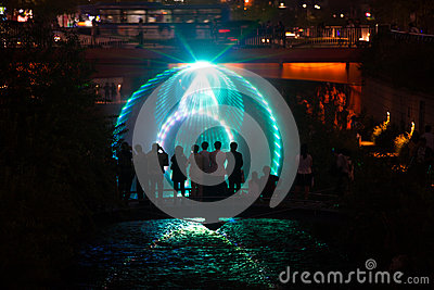 Cheonggyecheon Laser Show Circle Tourists Seoul