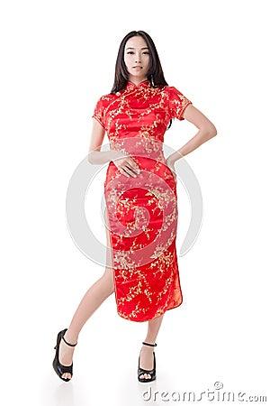 cheongsam traditionnel de robe chinoise de femme image. Black Bedroom Furniture Sets. Home Design Ideas