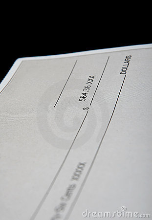 Cheque in american dollars