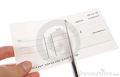 Cheque being cut up cutout