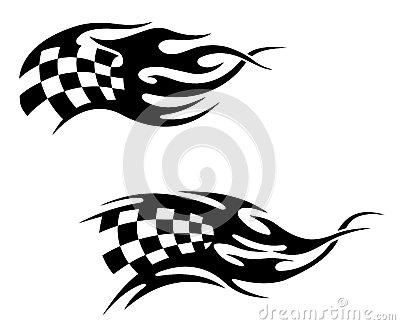 Chequered flag with flames