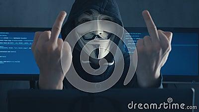 Cherkassy Ukraine January 10 2019 Anonymous Hacker In Black