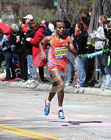 Cherks runs in the Boston Marathon Editorial Photography