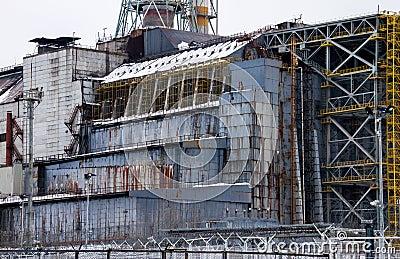 Chernobyl reactor 4 sarcophagus detail