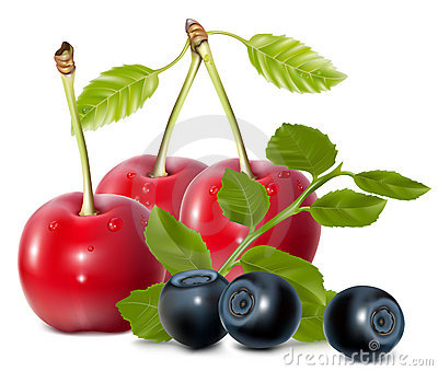 Cherries and blueberries with leaves.