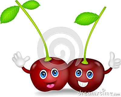 Cherries cartoon couple