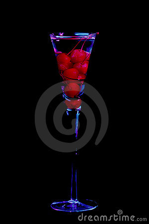 Cherries in champagne glass