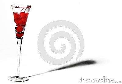 Cherries in champagne glass