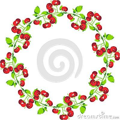 Cherries Circle Shape Vector Illustration