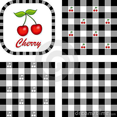 Cherries & Gingham Seamless Patterns