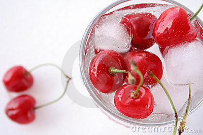 Cherries in glass with ice